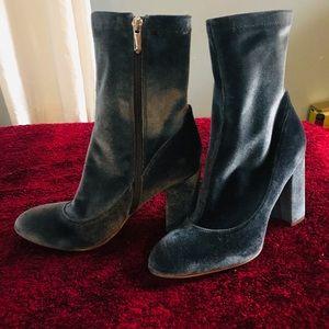 Sam Edelman teal chunky heel velvet boots, sz 9
